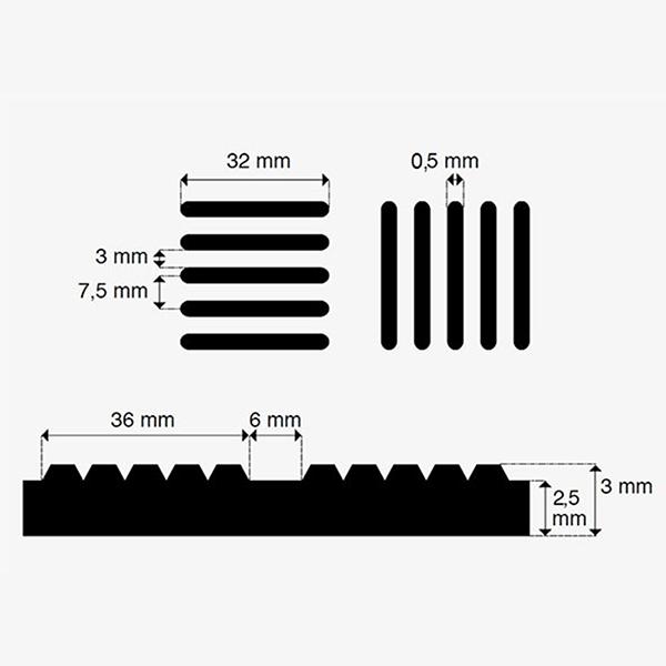 afmetingen Rubber loper / rubbermat op rol Traanplaat 3mm - Breedte 160 cm